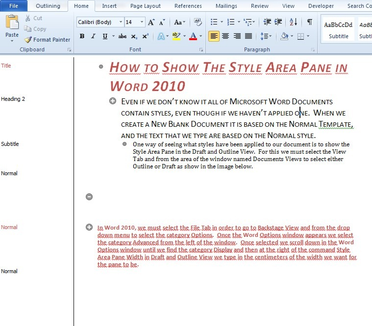 How To Show The Style Area Pane In Word 2010 Officesmart