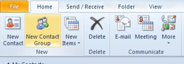 how to add a group contact in outlook