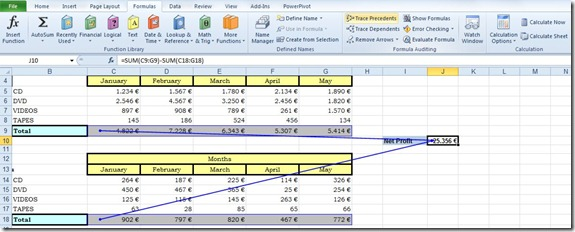 Trace Precedents and Dependents in Excel (2/5)