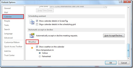 Outlook Options-Weather-Calendar