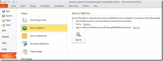 Save To SkyDrive
