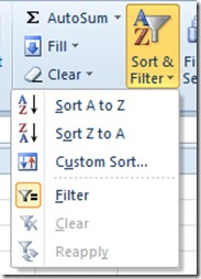 Sort and Filter