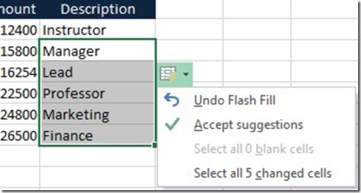 Flash Fill Shortcut Menu