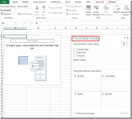 Anaylyze PivotTable Fields