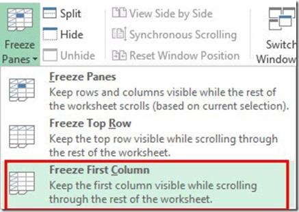 Freeze First Column