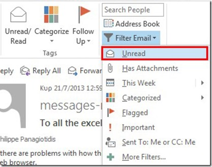 Filter Email Unread