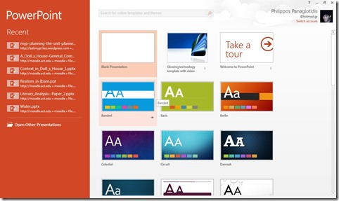 PowerPoint Start Up Screen
