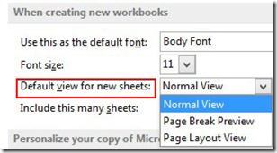 Default View For New Sheets