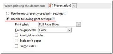 Use The Following Print Settings