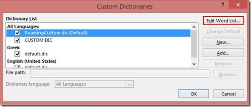 Custom Dictionaries