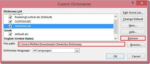 Remove Custom Dictionary