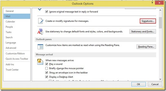 Outlook Options - Mail - Signatures