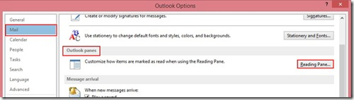 Outlook Options - Mail - Outlook Panes
