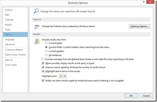 Outlook Options - Search
