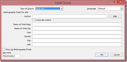 Create Source Dialog Box