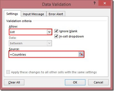Data Validation - Settings