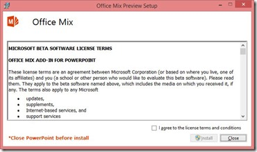Office Mix Preview Setup - License Terms