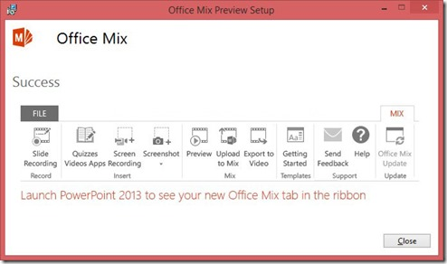 Office Mix Preview Setup