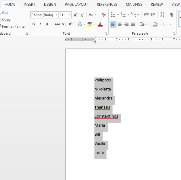 how to cut selected text in word
