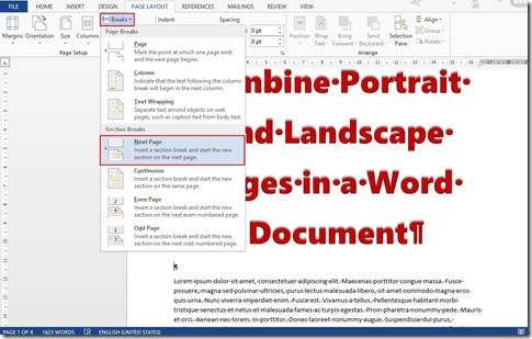 libre office word how to change page orientation