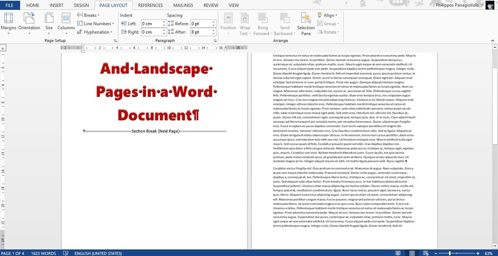 Combine Portrait and Landscape Pages in a Word 13 Document
