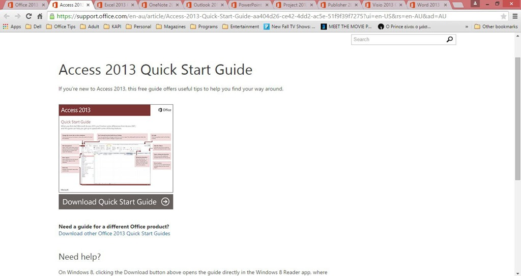 Complete collection of Microsoft Office 2013 Quick Start Guides