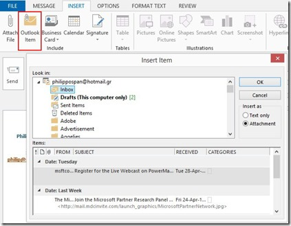 Outlook Item dialog box