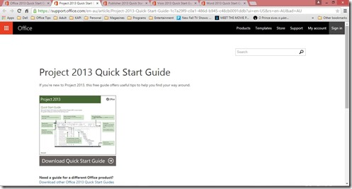 Downloaded Project 2013 Quick Start Guide