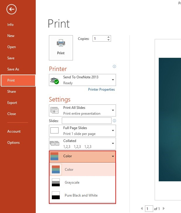 Color Grayscale And Black White Print Settings In PowerPoint 13