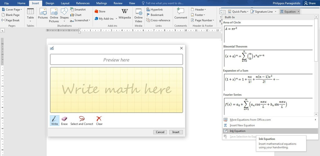 Insert An Equation In Word 2016 Document Officesmart
