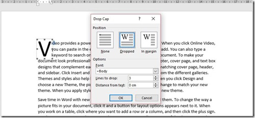 Drop Cap Dialog Box