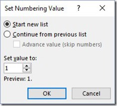 Set Numbering Value