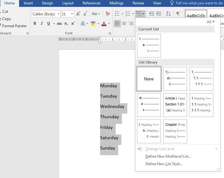 how to make a to do list in word