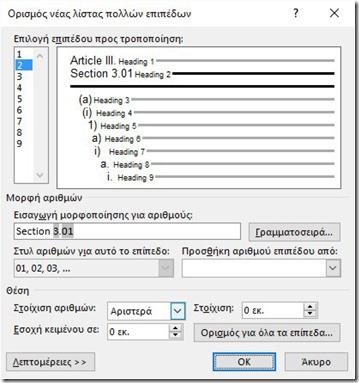 Define New Multilevel List