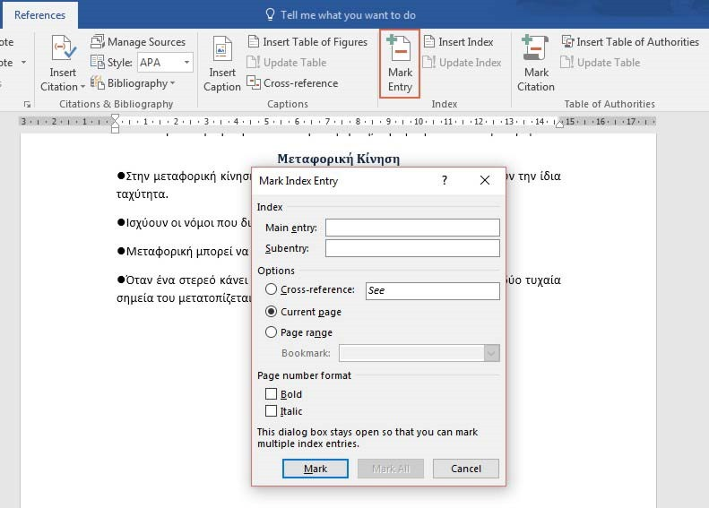 Create An Index In a Word 2016 Document | officesmart