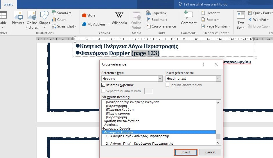 How to insert a cross reference in word