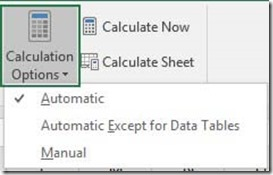 Calculation Options Drop Down List