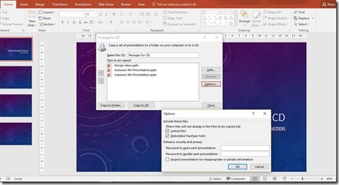 Share Feature in PowerPoint 2016 - Options