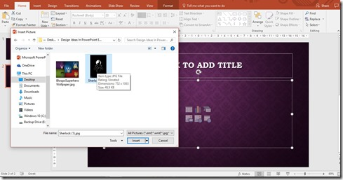 Insert Pictures in PowerPoint 2016