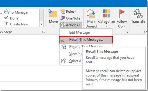 Recall A Sent Message in Outlook 365 | officesmart