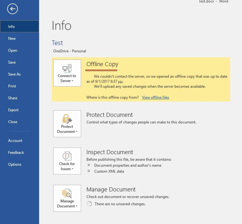 Offline and Online Copies in Microsoft Office Applications