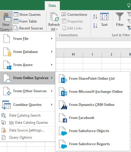 New Data Sources Available for New Queries in Microsoft