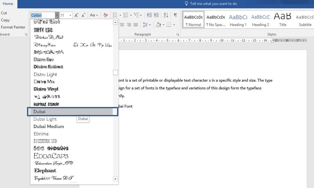 Dubai Font in Microsoft Office 365 | officesmart