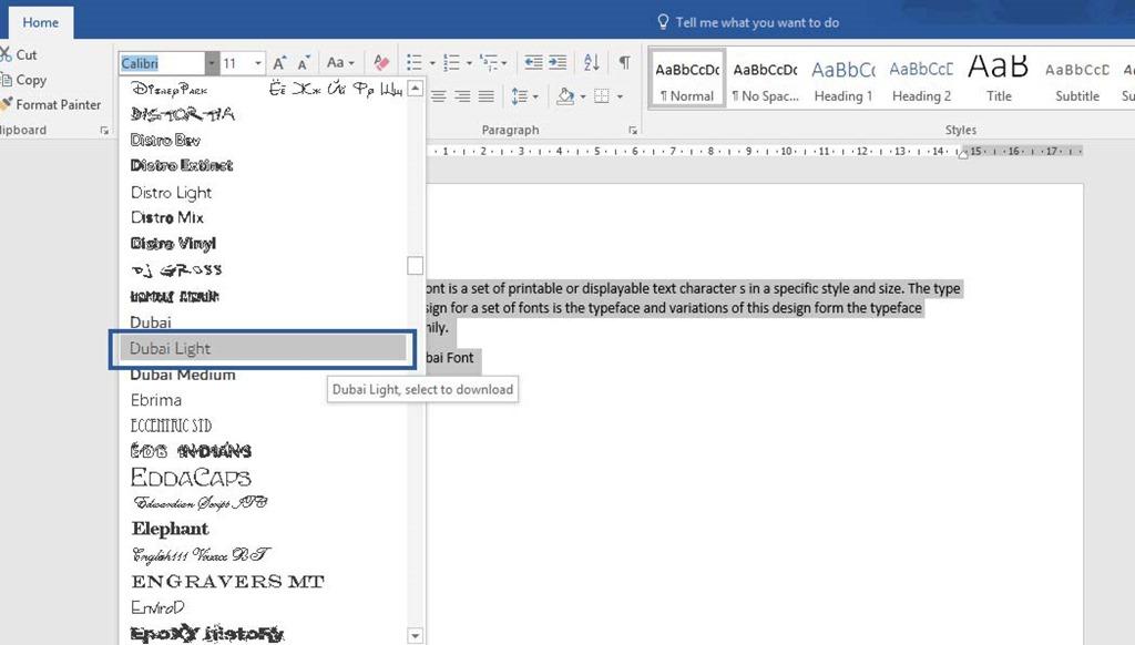dubai font in microsoft word