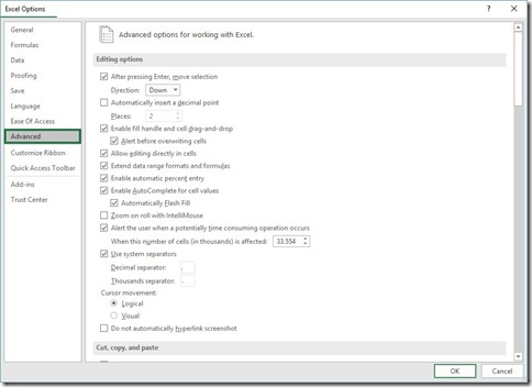 Excel Options - Advanced