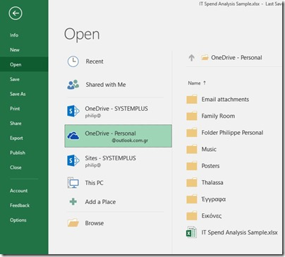 Open File in Excel 365