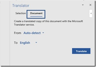 Translator Task Pane Autodetect