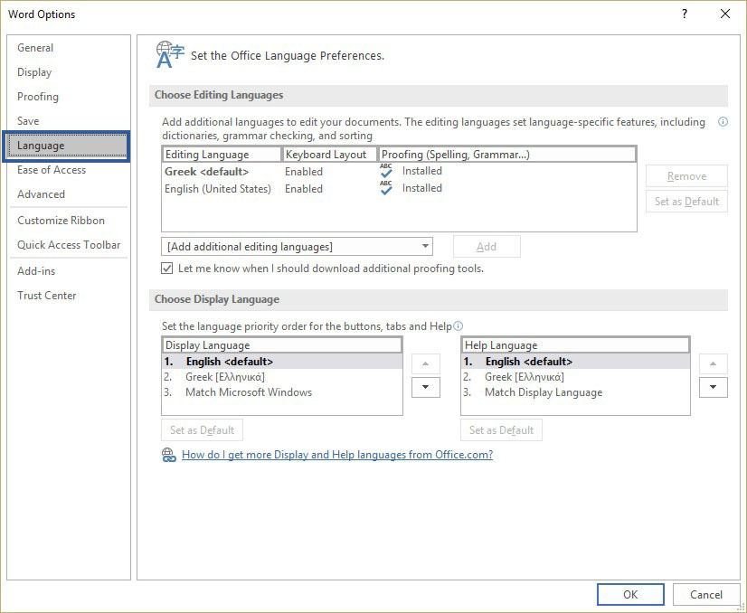 How to change proofing language settings in Office
