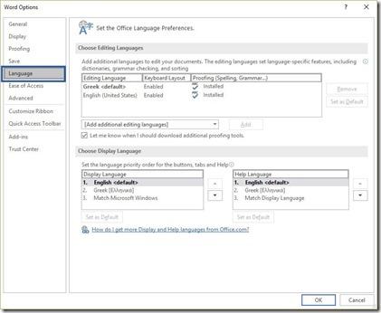 Word Options - Language