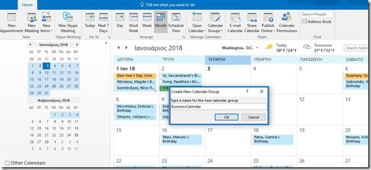 Create New Calendar Group in Outlook 365